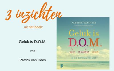 Mijn 3 inzichten uit het boek: Geluk is D.O.M.